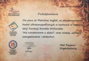 Podziękowanie dla Dr Marcin Inglota za badania USG dzieci w mieście i gminie Łochów od organizatorów - Stowarzyszenie Port Kalinowic i Przedszkole Terapeutyczne Mój Świat.