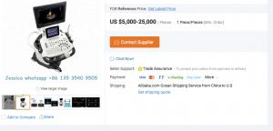 Aparat USG udając zaawansowany sprzęt klasy premium - oferta portalu aukcyjnegi